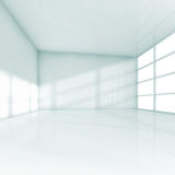 Abstract white interior empty 3d office room. Abstract white interior, empty office room with windows. Square 3d illustration royalty free illustration