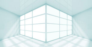 Abstract white interior of empty office room 3d Royalty Free Stock Image