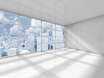 Abstract white interior of an empty office room. With modern city skyline behind the window. 3d render illustration vector illustration