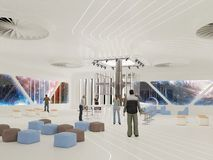 Abstract white interior of the future. 3D illustration and rendering.  Stock Image