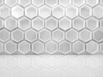 Abstract white interior with honeycombs 3d. Abstract white interior with honeycomb relief pattern on the wall, front view. 3d render illustration Royalty Free Stock Image