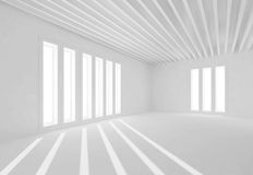 Abstract white interior, windows and sun beams. Abstract white room interior with windows and sun beams. Empty architecture background, 3d illustration Stock Photos