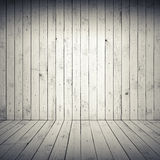Abstract white interior with wooden floor and wall Royalty Free Stock Image