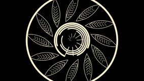 Abstract white lines rotate in a flower shape in big circle on black background. Spinning abstract flower formed by royalty free illustration
