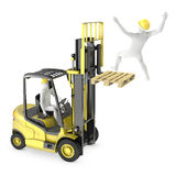 Abstract white man falling from lift truck fork. Due to safety violation, n white background Royalty Free Stock Photography