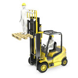 Abstract white man in a fork lift truck Royalty Free Stock Image