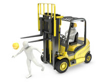 Abstract white man was hit by lift truck fork Stock Image