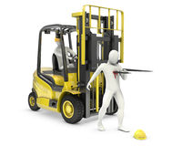 Abstract white man was injured by lift truck fork Stock Photos