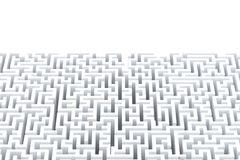 Abstract white maze with copyspace. Isolated on white. Contains clipping path Stock Photo