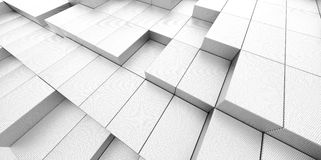 Abstract white metallic background of 3d blocks Royalty Free Stock Images