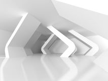 Abstract White Modern Interior Design Background. Futuristic Arc. Hitecture. 3d Render Illustration Stock Images