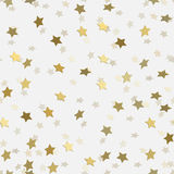 Abstract white modern seamless pattern with gold stars. Stock Photo