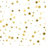 Abstract white modern seamless pattern with gold stars. Vector i. Llustration.Shiny background. Texture of gold foil Royalty Free Stock Image
