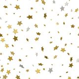 Abstract white modern seamless pattern with gold stars. Vector i. Llustration.Shiny background. Texture of gold foil Royalty Free Stock Photo