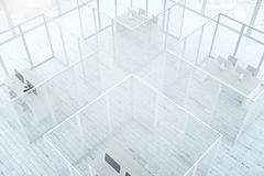 Abstract white office interior. Top view of abstract office interior with framed glass partitions and white wooden floor. 3D Rendering Royalty Free Stock Photography
