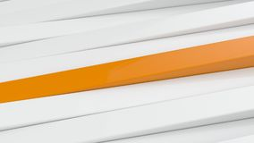 Abstract white and orange panels 3D background. Stock Photo