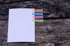Abstract white paper with colors note tab. Notebook with colors Stock Image