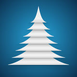 Abstract white paper cut Christmas tree Royalty Free Stock Photography