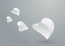 Abstract White Paper Hearts Flying Stock Images