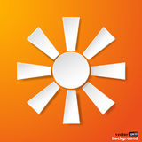 Abstract white paper sun on orange background Stock Images