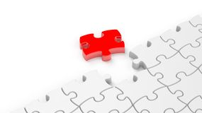 Abstract white puzzle pieces background. With one red and copy-space Royalty Free Stock Photos