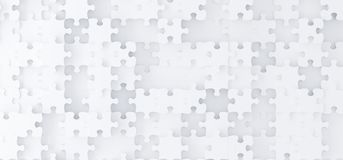 Abstract White Puzzle Pieces Top View. 3D Rendering Of Abstract White Puzzle Pieces Top View royalty free illustration