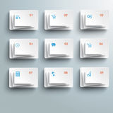 9 Abstract White Rectangles Infographic. 9 white rectangles on the grey background Royalty Free Stock Photo