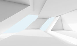 Abstract white room, 3d interior with windows. Abstract white room interior with window and futuristic geometric structures. Empty architecture background, 3d Stock Image