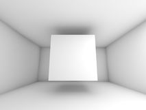 Abstract white room interior with flying cube Stock Image