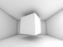 Abstract white room interior, flying cube Stock Photo