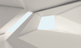 Abstract white room interior with windows 3d Stock Image