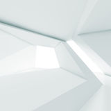 Abstract white room interior with windows 3 d Stock Photos