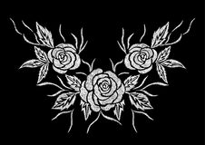 Abstract white rose flower embroidery artwork design for clothing. Abstract white rose flower embroidery artwork design for neckline clothing, vector on black royalty free illustration