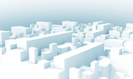 Abstract white schematic 3d cityscape, blue toned Royalty Free Stock Photos