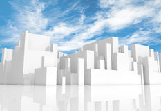 Abstract white schematic 3d cityscape with sky. Abstract white schematic 3d cityscape with natural bright cloudy sky on a background Royalty Free Stock Photo