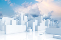Abstract white schematic 3d cityscape and sky. Abstract white 3d cityscape over natural cloudy sky background Royalty Free Stock Images
