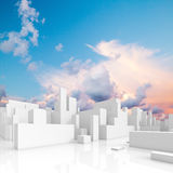 Abstract white schematic 3d cityscape, square. Composition with natural bright cloudy sky on a background Royalty Free Stock Photo