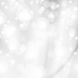 Abstract white shiny lights, silver background Stock Image