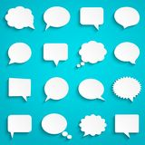Blank empty paper white speech bubbles. Abstract white speech bubbles set on blue background, paper art style, vector illustration Royalty Free Stock Image