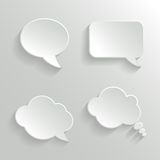 Abstract White Speech Bubbles Set Stock Photos