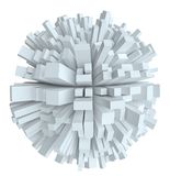 Abstract White Sphere With Cubes stock illustration