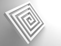 Abstract white square spiral maze 3d object. Abstract white square spiral maze object on white background, 3d render illustration Stock Photos