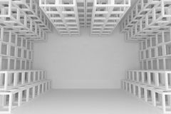 Abstract white square truss wall Stock Photo