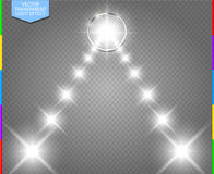 Abstract white star way in metal ring space portal Stock Image