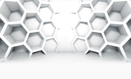 Abstract white symmetric interior with honeycomb Stock Images