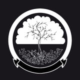 Abstract white tree silhouette Royalty Free Stock Photo