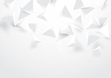 Abstract white triangles 3d polygonal background. Abstract white 3d triangles falling on soft background Vector Illustration