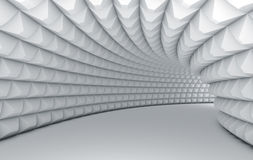 Abstract white tunnel. With pyramid textured walls Stock Images