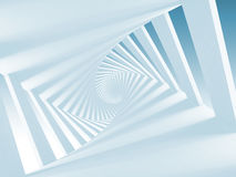 Abstract white twisted spiral corridor. Interior, blue toned 3d illustration royalty free illustration