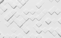 Abstract white wall with cubes 3d background. Abstract white wall with graphic background made of white cubes, diagonal view, 3d illustration for different Royalty Free Illustration